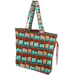 Bluegreen Pumpkins Drawstring Tote Bag by bloomingvinedesign