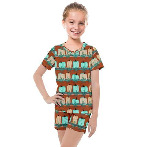 Bluegreen Pumpkins Kids  Mesh Tee And Shorts Set by bloomingvinedesign