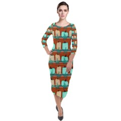 Bluegreen Pumpkins Quarter Sleeve Midi Velour Bodycon Dress by bloomingvinedesign