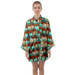 Bluegreen Pumpkins Long Sleeve Satin Kimono by bloomingvinedesign
