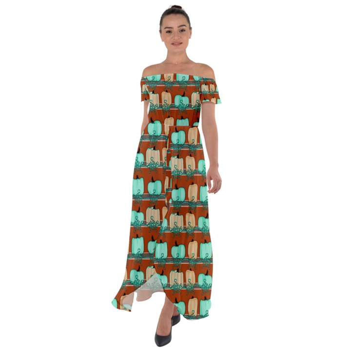 Bluegreen Pumpkins Off Shoulder Open Front Chiffon Dress