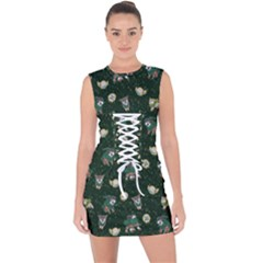 Grass Love Lace Up Front Bodycon Dress by Mezalola
