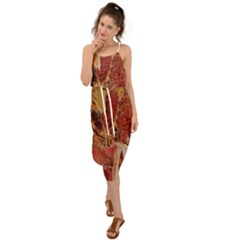 Autumn Colors Leaf Leaves Brown Red Waist Tie Cover Up Chiffon Dress