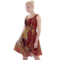 Autumn Colors Leaf Leaves Brown Red Knee Length Skater Dress by yoursparklingshop