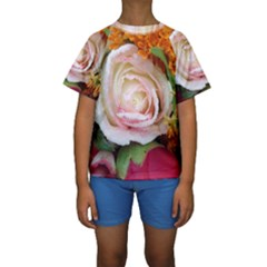 Floral Bouquet Orange Pink Rose Kids  Short Sleeve Swimwear by yoursparklingshop