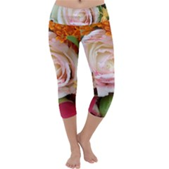 Floral Bouquet Orange Pink Rose Capri Yoga Leggings by yoursparklingshop