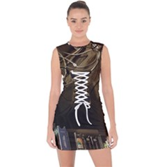 15667039605783656197414003375191 Lace Up Front Bodycon Dress