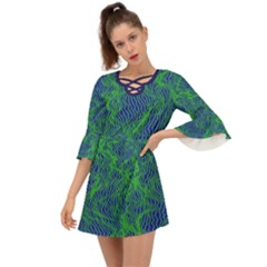 Green Navy Waves Design    Criss Cross Mini Dress