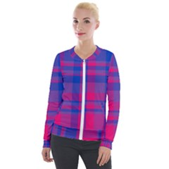 Bisexual Plaid Velour Zip Up Jacket by NanaLeonti
