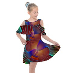 Lines Rays Background Light Rainbow Kids  Shoulder Cutout Chiffon Dress by Bajindul