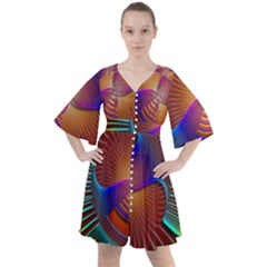 Lines Rays Background Light Rainbow Boho Button Up Dress