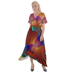 Lines Rays Background Light Rainbow Cross Front Sharkbite Hem Maxi Dress by Bajindul
