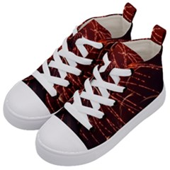 Fireworks Red Orange Yellow Kids  Mid-top Canvas Sneakers by Bajindul