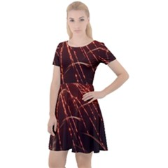 Fireworks Red Orange Yellow Cap Sleeve Velour Dress