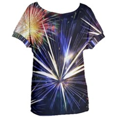 Fireworks Rocket Night Lights Women s Oversized Tee by HermanTelo