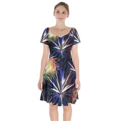 Fireworks Rocket Night Lights Short Sleeve Bardot Dress