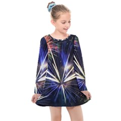 Fireworks Rocket Night Lights Kids  Long Sleeve Dress by HermanTelo
