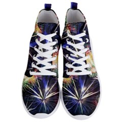 Fireworks Rocket Night Lights Men s Lightweight High Top Sneakers by HermanTelo