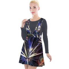 Fireworks Rocket Night Lights Plunge Pinafore Velour Dress