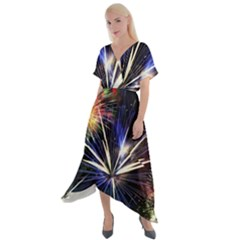 Fireworks Rocket Night Lights Cross Front Sharkbite Hem Maxi Dress by HermanTelo