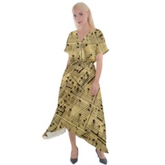 Music Nuts Sheet Cross Front Sharkbite Hem Maxi Dress by Mariart