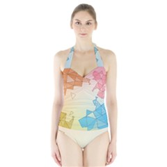 Background Pastel Geometric Lines Halter Swimsuit by Alisyart