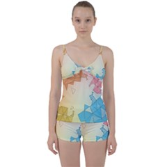 Background Pastel Geometric Lines Tie Front Two Piece Tankini