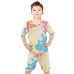 Background Pastel Geometric Lines Kids  Tee And Shorts Set