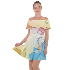 Background Pastel Geometric Lines Off Shoulder Velour Dress by Alisyart