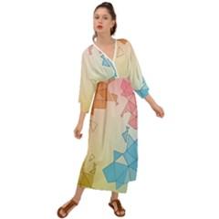Background Pastel Geometric Lines Grecian Style  Maxi Dress