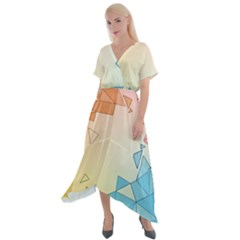 Background Pastel Geometric Lines Cross Front Sharkbite Hem Maxi Dress by Alisyart
