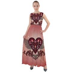 Awesome Heart With Skulls And Wings Chiffon Mesh Boho Maxi Dress by FantasyWorld7
