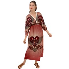 Awesome Heart With Skulls And Wings Grecian Style  Maxi Dress by FantasyWorld7