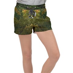 Vermont Green And Yellow Leaves Women s Velour Lounge Shorts