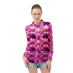 Cut Glass Beads Long Sleeve Chiffon Shirt by essentialimage