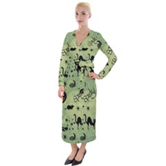 Funny Halloween Pattern With Witch, Cat And Pumpkin Velvet Maxi Wrap Dress by FantasyWorld7
