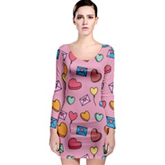 Candy Pattern Long Sleeve Bodycon Dress by Sobalvarro