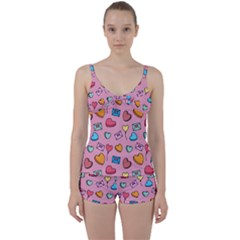 Candy Pattern Tie Front Two Piece Tankini by Sobalvarro