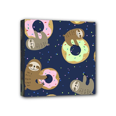 Cute Sloth With Sweet Doughnuts Mini Canvas 4  X 4  (stretched) by Sobalvarro