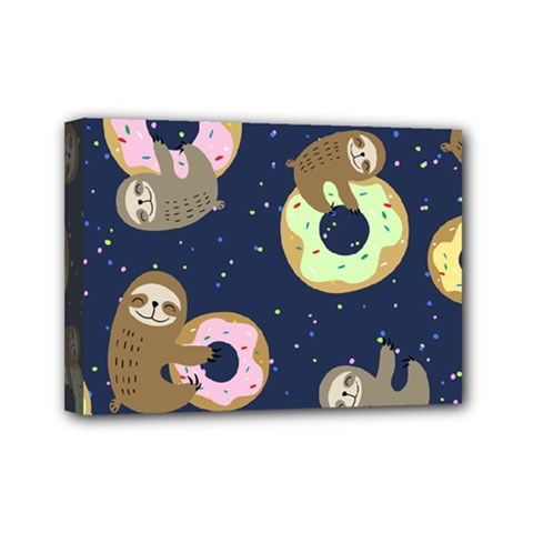 Cute Sloth With Sweet Doughnuts Mini Canvas 7  X 5  (stretched) by Sobalvarro