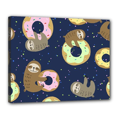 Cute Sloth With Sweet Doughnuts Canvas 20  X 16  (stretched) by Sobalvarro