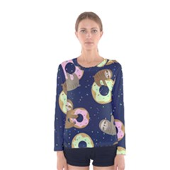 Cute Sloth With Sweet Doughnuts Women s Long Sleeve Tee by Sobalvarro