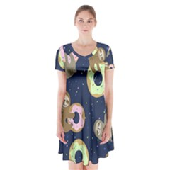 Cute Sloth With Sweet Doughnuts Short Sleeve V-neck Flare Dress by Sobalvarro