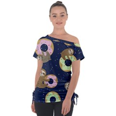 Cute Sloth With Sweet Doughnuts Tie Up Tee by Sobalvarro