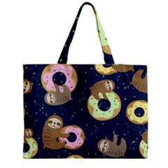 Cute Sloth With Sweet Doughnuts Medium Tote Bag by Sobalvarro