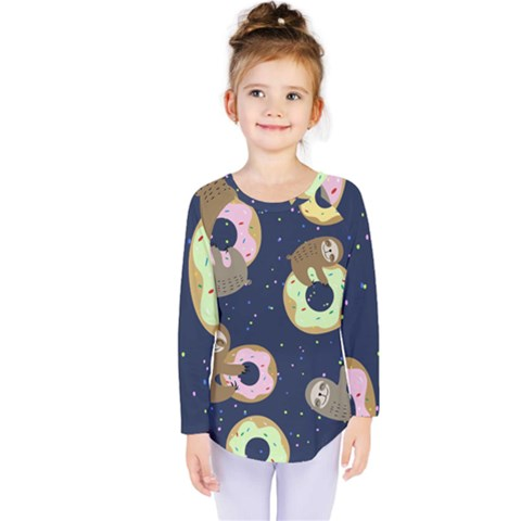 Cute Sloth With Sweet Doughnuts Kids  Long Sleeve Tee by Sobalvarro