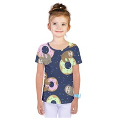 Cute Sloth With Sweet Doughnuts Kids  One Piece Tee by Sobalvarro
