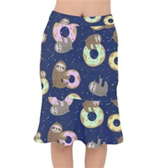 Cute Sloth With Sweet Doughnuts Short Mermaid Skirt by Sobalvarro