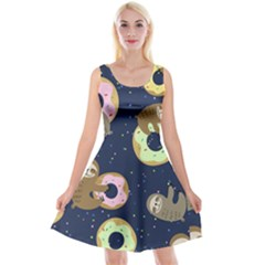 Cute Sloth With Sweet Doughnuts Reversible Velvet Sleeveless Dress by Sobalvarro