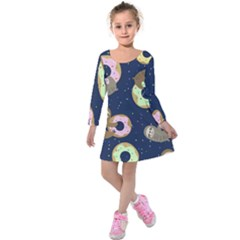 Cute Sloth With Sweet Doughnuts Kids  Long Sleeve Velvet Dress by Sobalvarro